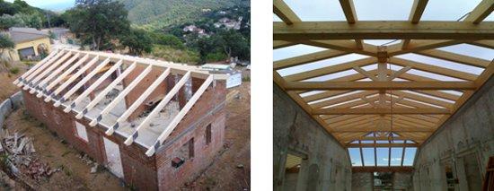 Montaje estructuras de madera para tejados cubiertas for Imagenes de tejados de madera